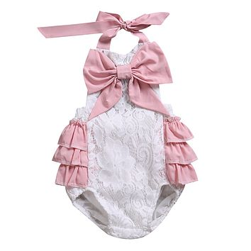 Summer Infant Newborn Baby Girl Pink Lace Halter Tutu Romper Big bowknot Jumpsuit Outfits Sunsuit Clothing