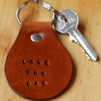 Love You Dad Leather Key Chain, Leather Key Fob, Love You Dad Keyring, Handmade Leather Keychain, Dad Keychain, Unique Fathers Day Gift