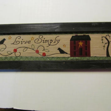 Live Simply Primitive Crows Willow Trees Rustic Cabin sign Rustic Wood Cabin Sign Rustic Cabin Decor Primitive wooden signs
