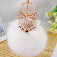 Free Shipping New Fashion Cute Real Fox Fur Ball Plush Keychain Car Key Chain for Bag Pendant -EH-423