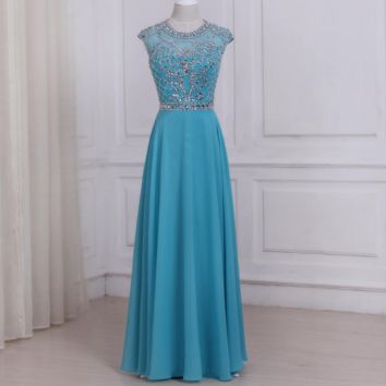 Blue Evening Dresses O-neck Sleeveless Beaded Crystals Floor Length Chiffon Formal Party Dress Open Back