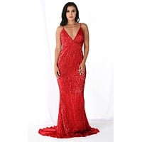 Fire and Ice Red Sequin Sleeveless Spaghetti Strap Plunge V Neck Backless Mermaid Maxi Dress