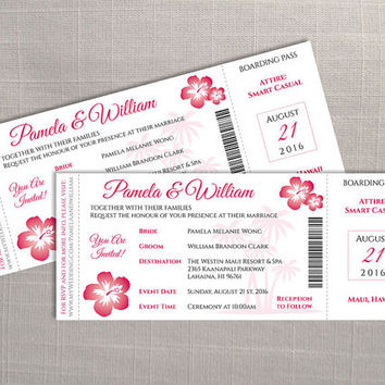 DIY Printable Wedding Invitation Card Template | Editable MS Word file | 3.25 x 8 | Instant Download | Hawaii Boarding Pass Dark Coral Pink