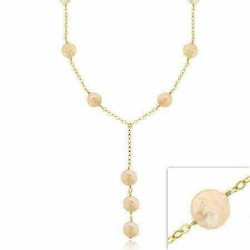 18K Gold over Sterling Silver Freshwater Cultured Peach Coin Pearl Y Necklace