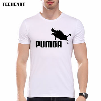Fashion Summer Design Funny Tee T Shirt Homme Men's Simba Pumba Cool Letter Lovely