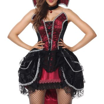 MOONIGHT Carnival Halloween Costume Vampire Halloween Costume for Women Gothic Dress with Choker