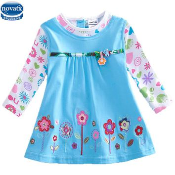 novatx H2762 baby girls long sleeve flower dress children clothes frocks autumn/spring child wear floral dress girl high quality