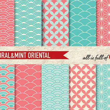 Digital Graphics Scrapbooking Paper Pack CORAL & MINT ORIENTAL Japanese Printable Background 8.5x11 // A4 - with Instant Download
