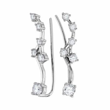 10kt White Gold Women's Round Diamond Climber Earrings 3-4 Cttw - FREE Shipping (US/CAN)