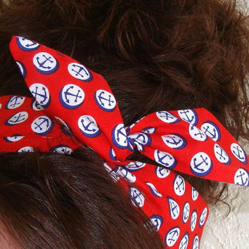 Dolly Bow, Red with Anchors, Pin Up Wire Headband Rockabilly Headscarf Teen Woman