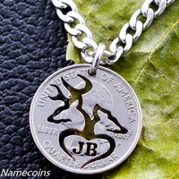 Deer Jewelry, Buck and Doe Heart With Initials Necklace