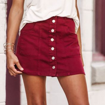 Cali Button-Up Skirt | Wine