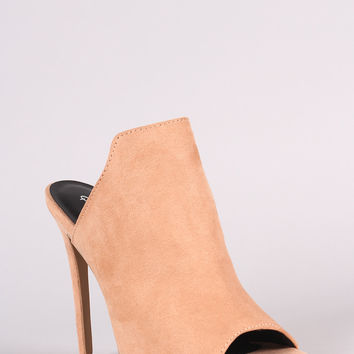 Qupid Suede Stiletto Mule Heel
