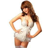 Amour Sexy Lingerie White Lolita Bridal Mini Dress Camisole /W G-string