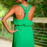 Braided Back Dress, Green