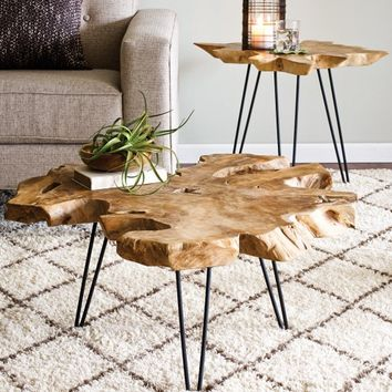 Teak Root and Iron Coffee Table