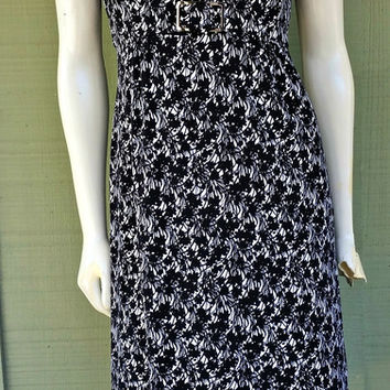 Tahari Arthur S Levine Black White Floral Slinky Dress 4