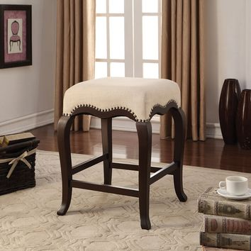 Acme 96614 Kakabel espresso finish wood and cream fabric counter height bar stool