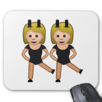 Woman With Bunny Ears Emoji Mouse Pads