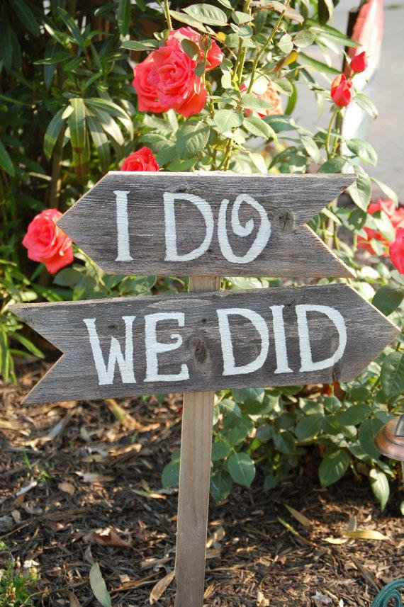 $58.00 I do We Did Wedding Signs Directional Arrow Sign by TRUECONNECTION