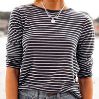 Long Sleeve Striped Blue T-shirt -SheIn(Sheinside)