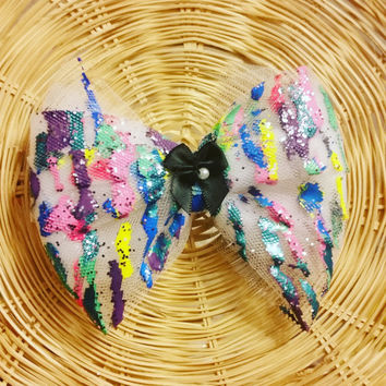Colorful Paint Splatter Hair Bow