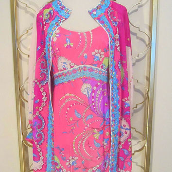 Vintage 1960s Emilio Pucci Formfit Rogers Peignoir Set Nightie & Robe Psychedelic Print-Small