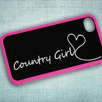 Country Girl Black and White Monogram Custom Insert with Hot Pink Bumper Case for iPhone 4 or 4s - unique, your name, initial, hearts