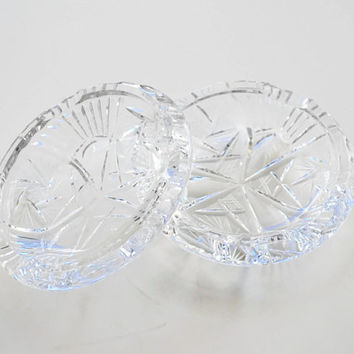 Brilliant Heavy Cut Glass Ash Trays, Candle Holders - (#100.32)