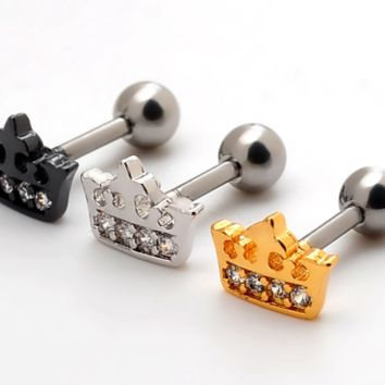 Fashion crown zircon Stainless steel earrings antiallergic tragus Earring-0427-Gifts box