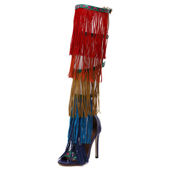 Sexy High Heel Sandals Fashion Knee High Boots Colorful Tassels High Heels Ladies Banquet High Heel Summer Style Women Shoes