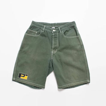 Vintage 90s PEARL JAM Shorts / Rare 1990s Sage Green Cotton Embroidered Logo Skate Board Shorts