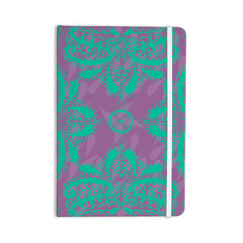 "Nandita Singh ""Motifs in Green"" Purple Floral Everything Notebook"