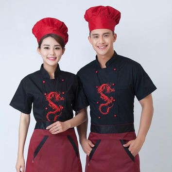 High Quality Chef Unforms Dragon Summer Short Cook Clothes Kitchen Worker Wear Clothing Restaurant Service Costume 18