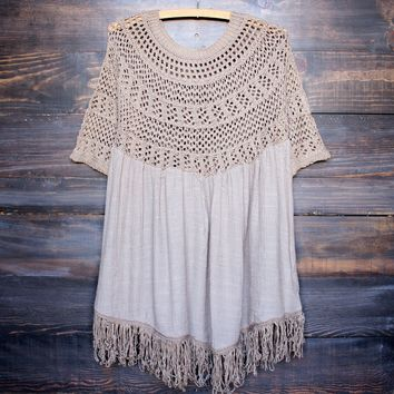 final sale - desert wanderer knit tunic - khaki