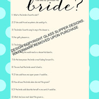 Bridal shower/bachelorette game printable - How well do you know the bride quiz pool blue polka dots - automatic download