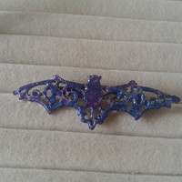 Closing sale- blue and purple glitter mixed  bat vampire   brooch  pin - gothic, lolita