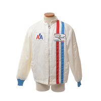 Vintage 80s American Airlines 767 Racing Jacket 1980s AA Airplane Plane Fleece Lined Airline Jet Hipster Nylon Advertising Jacket