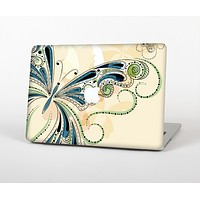 "The Vibrant Tan & Blue Butterfly Outline Skin Set for the Apple MacBook Pro 13"" with Retina Display"