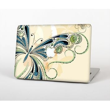 The Vibrant Tan & Blue Butterfly Outline Skin for the Apple MacBook Air 13""