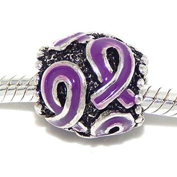 Pro Jewelry Purple Awareness Ribbon Bead Compatible with European Snake Chain Bracelets