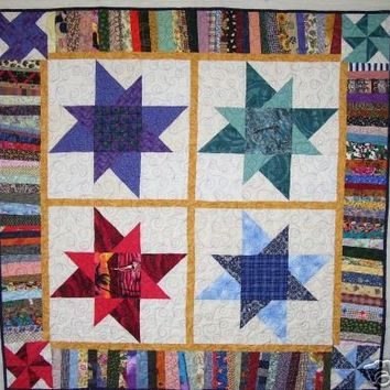 """Scrappy Star Quilt - """"Stars and Strings"""" - For Baby, Laps, or Naps - Handmade by Me"""