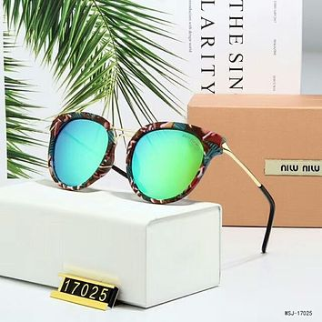 Miu Miu Fashion Women Cute Personality Shades Eyeglasses Glasses Sunglasses Green I-A-SDYJ