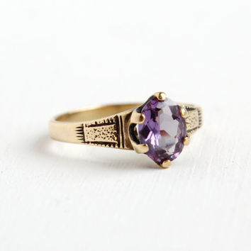 Antique Victorian 10k Yellow Gold Synthetic Alexandrite Ring - Size 7 3/4 1800s Purple Blue Stone Fine Jewelry