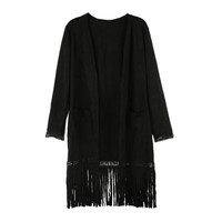 Black Faux Suede Double Pocket Fringed Cardigan
