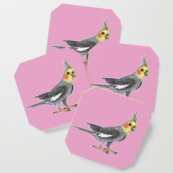 Cockatiel bird Coaster by savousepate