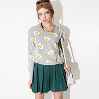 Grey Playful Omellete Print Sweater