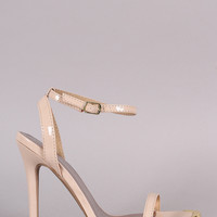 Qupid Patent Gold Tip Ankle Strap Stiletto Heel
