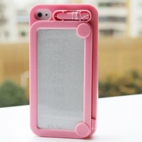 Hoter Creative Drawing Board Protective Case for iPhone 4/4S - Pink