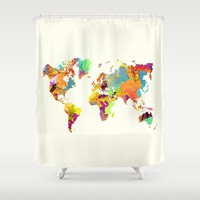 world map color art 2 Shower Curtain by Jbjart